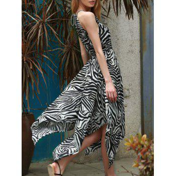 Trendy Zebra Print Sleeveless Handkerchief Midi Dress For Women