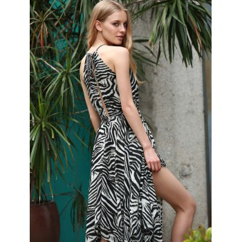 Trendy Zebra Print Sleeveless Handkerchief Midi Dress For Women - BLACK S