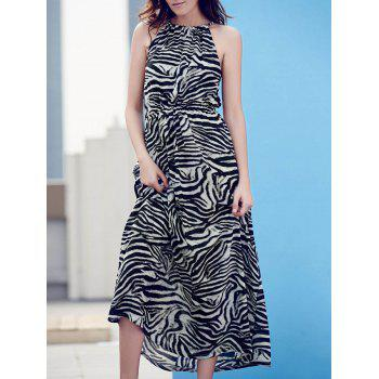 Stylish Zebra Print Sleeveless Back Slit Maxi Dress For Women