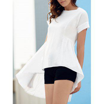 Stylish Women's Round Neck Short Sleeve Asymmetrical T-Shirt