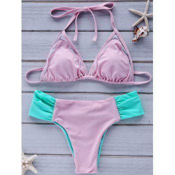 Sweet Style Halter Neck Color Block Backless   Women's Bikini Set - PINK XL