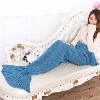 Chic Summer Nap Fish Tail Shape Mermaid Design Knitting Blanket -  LAKE BLUE