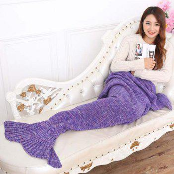 Chic Summer Nap Fish Tail Shape Mermaid Design Knitting Blanket -  PURPLE
