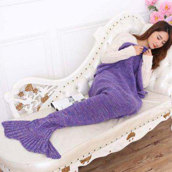 Chic Summer Nap Fish Tail Shape Mermaid Design Knitting Blanket - PURPLE PURPLE
