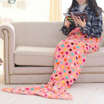 Chic Summer Fish Tail Shape Colorful Polka Dot Pattern Mermaid Design Blanket For Kids