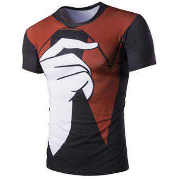 Pullover Color Block Finger Printed T-Shirt For Men