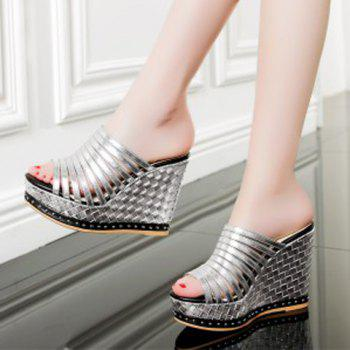 Leisure Solid Color and Wedge Heel Design Women's Slippers - 38 38