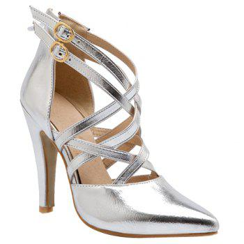 Point Toe Caged Pumps - SILVER 37