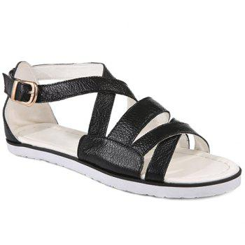 Casual Flat Heel and Cross Straps Design Women's Sandals