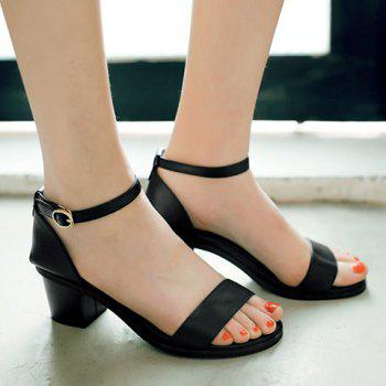 Fashionable PU Leather and Chunky Heel Design Women's Sandals - BLACK 39