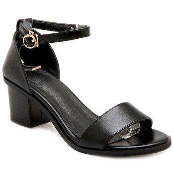 Fashionable PU Leather and Chunky Heel Design Women's Sandals