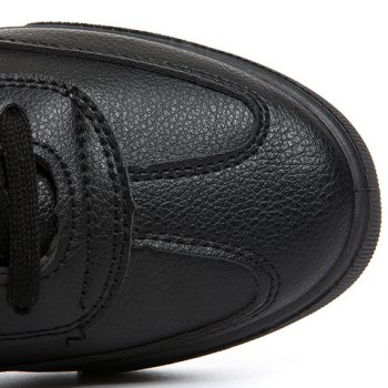 Concise PU Leather and Solid Colour Design Men's Casual Shoes - BLACK 43
