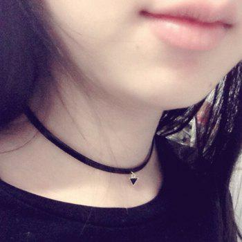 Triangle Faux Leather Choker Necklace - BLACK