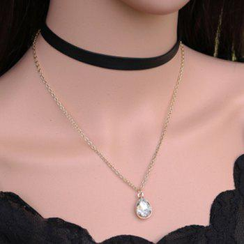 Layered Water Drop Faux Leather Necklace - BLACK