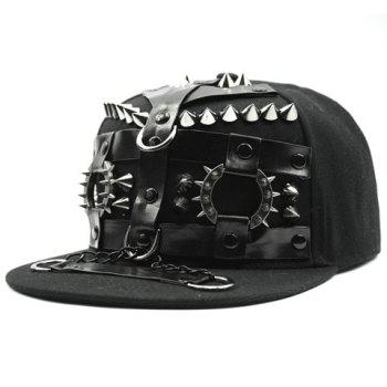 Stylish Rivet Chain PU Belt Embellished Men's Black Baseball Cap