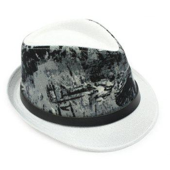 Stylish Black Belt Embellished Sun-Resistant Men's Flax Printed Jazz Hat - WHITE