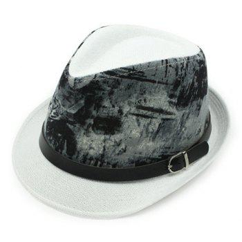 Stylish Black Belt Embellished Sun-Resistant Men's Flax Printed Jazz Hat
