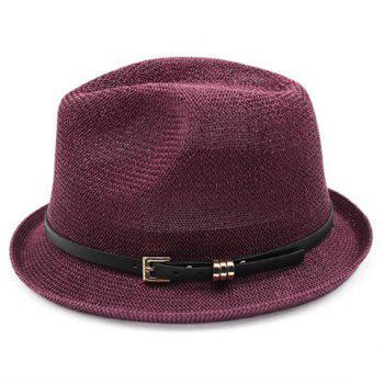 Chic Pin Buckle Belt Embellished Sun-Resistant Women's Jazz Hat - WINE RED