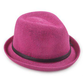 Chic PU Rope Lace-Up Embellished Flanging Sun-Resistant Women's Jazz Hat - ROSE