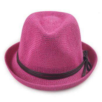 Chic PU Rope Lace-Up Embellished Flanging Sun-Resistant Women's Jazz Hat