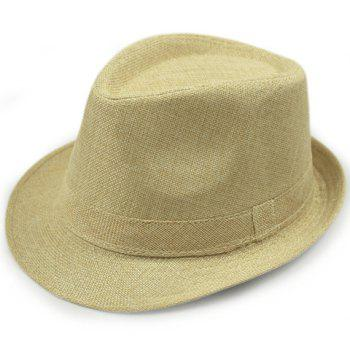 Stylish Solid Color Flanging Flax Jazz Hat