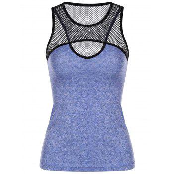 Sporty Jewel Neck Sleeveless Mesh Spliced Hollow Out Women's Tank Top