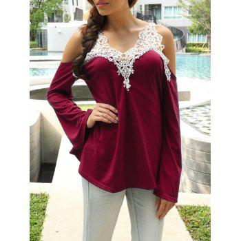 Cold Shoulder Color Block Lace Splicing T-Shirt - Red - Xl