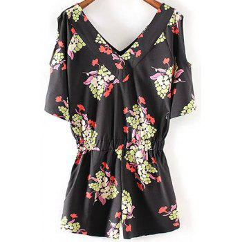 Sweet Cut-Out Printed Hip Pockets Women's Playsuit