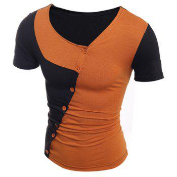 Trendy Button Design Color Splicing Skew Collar Short Sleeve Slimming Polyester T-Shirt - BROWN BROWN