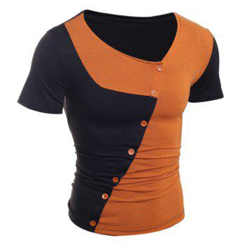 Trendy Button Design Color Splicing Skew Collar Short Sleeve Slimming Polyester T-Shirt - BROWN M