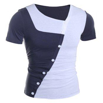Trendy Button Design Color Splicing Skew Collar Short Sleeve Slimming Polyester T-Shirt - WHITE M