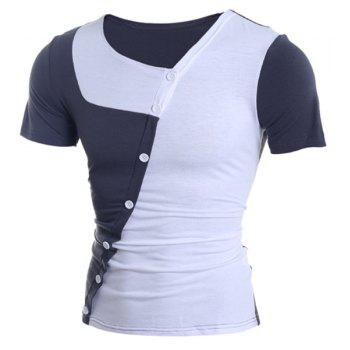 Trendy Button Design Color Splicing Skew Collar Short Sleeve Slimming Polyester T-Shirt - WHITE WHITE