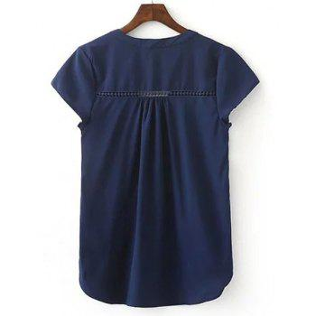 Simple Cap Sleeve V neck Pure Color Spliced Women's Blouse - PURPLISH BLUE L