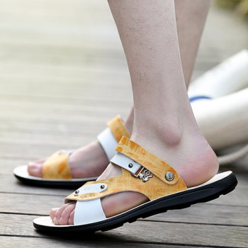 Simple Colour Block and Metal Design Men's Slippers - YELLOW 43