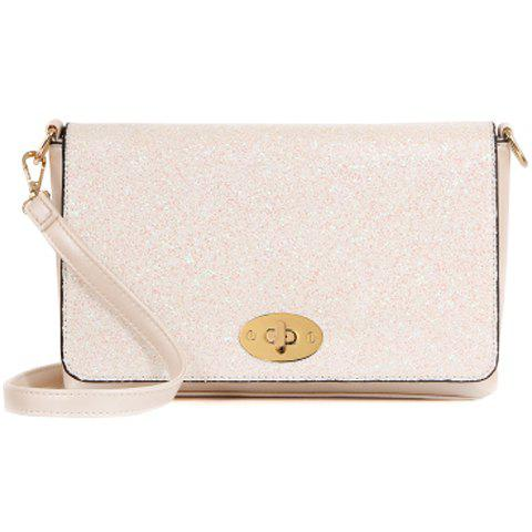 Stylish Solid Colour and Sequins Design Women's Crossbody Bag - OFF WHITE