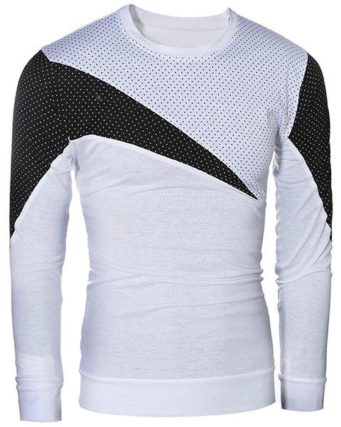 Casual Pullover Color Block Long Sleeves T-Shirt For Men - WHITE L