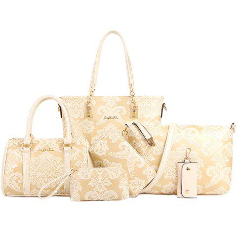 Graceful Embossing and Metallic Design Women's Shoulder Bag - OFF WHITE