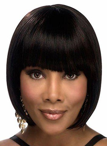 Bob Style Straight Graceful Short Full Bang Synthetic Wig For Women - COLORMIX