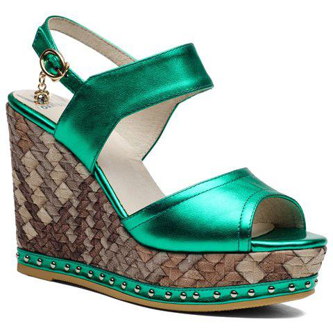 Fashion Wedge Heel and Solid Color Design Women's Sandals - GREEN 39