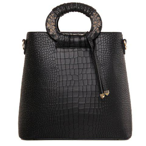 Stylish Embossing and Carving Design Women's Tote Bag - BLACK