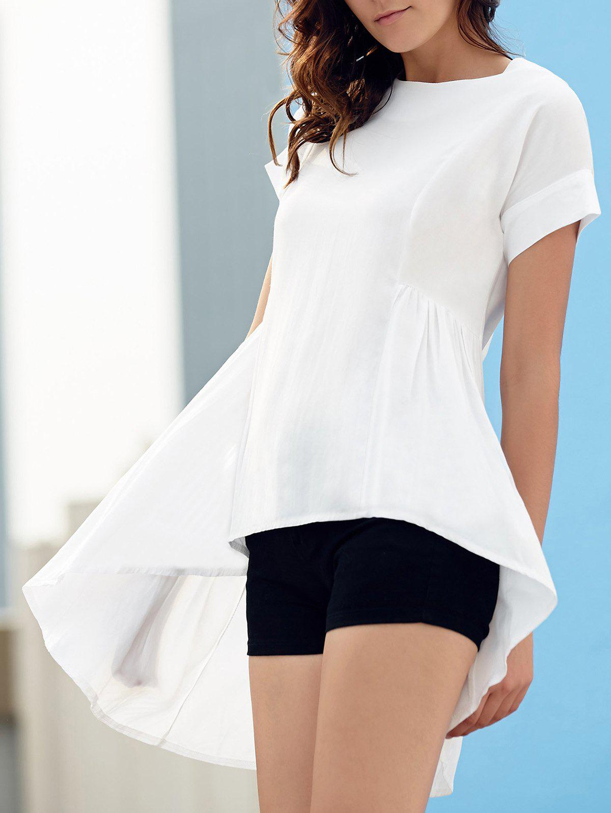Stylish Women's Round Neck Short Sleeve Asymmetrical T-Shirt - WHITE M