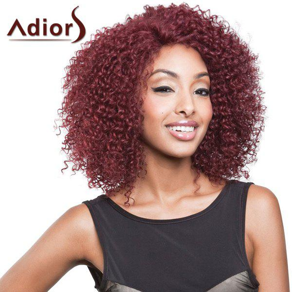 Shaggy Afro Curly Synthetic Attractive Medium Dark Red Capless Adiors Wig For Women - MAGENTA/DARK RED