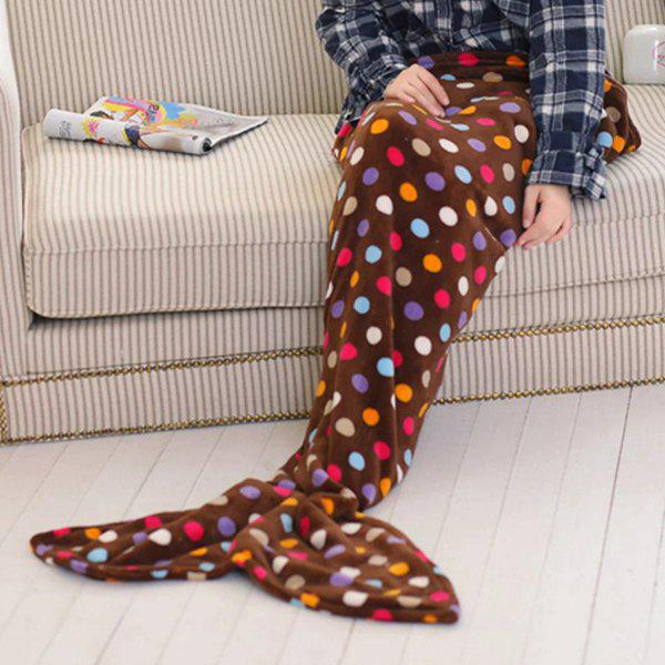 Chic Summer Nap Fish Tail Shape Colorful Polka Dot Pattern Mermaid Design Blanket - COFFEE