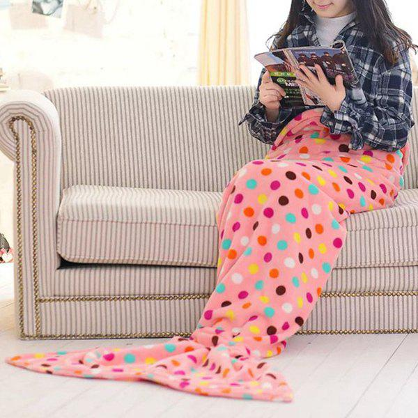 Chic Summer Fish Tail Shape Colorful Polka Dot Pattern Mermaid Design Blanket For Kids - ORANGEPINK