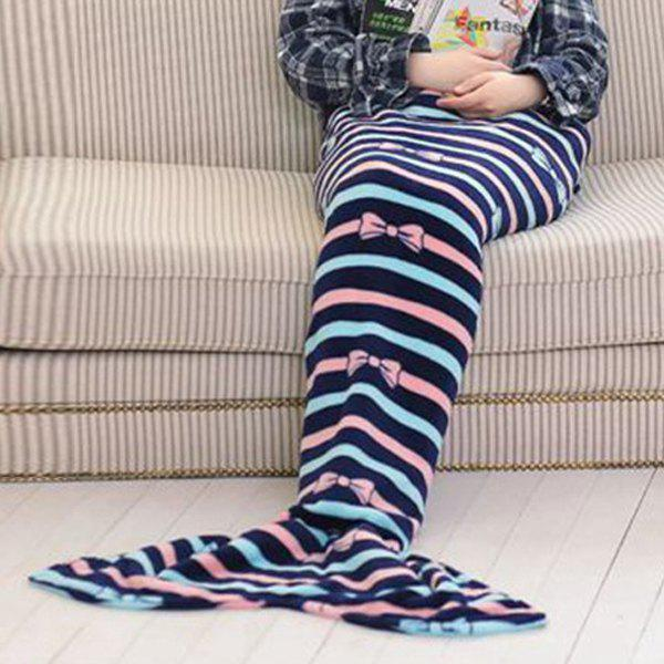 Chic Summer Nap Bowknot Striped Pattern Fish Tail Shape Mermaid Design Blanket - PURPLISH BLUE