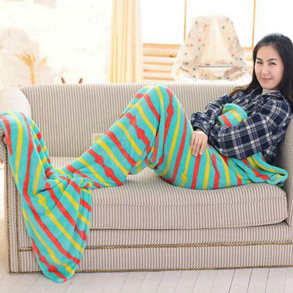 Chic Summer Bowknot Striped Pattern Fish Tail Shape Mermaid Design Blanket For Kids - MINT GREEN