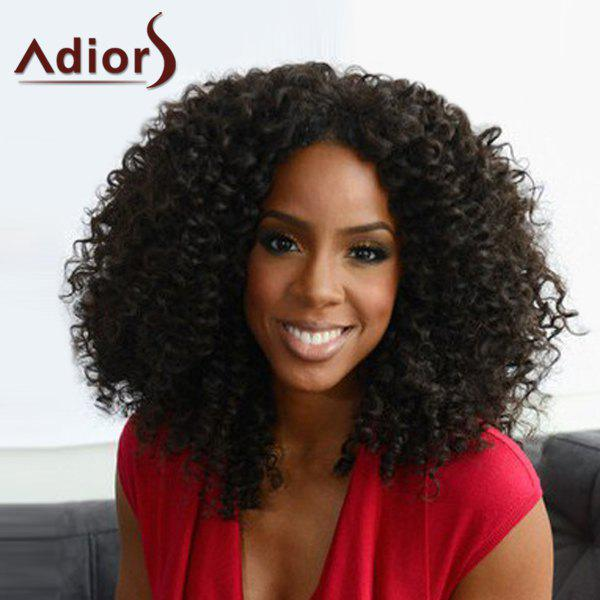 Trendy Black Heat Resistant Synthetic Shaggy Afro Curly Capless Women's Adiors Wig - BLACK