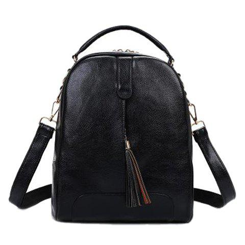 Stylish Tassels and PU Leather Design Women's Backpack - BLACK