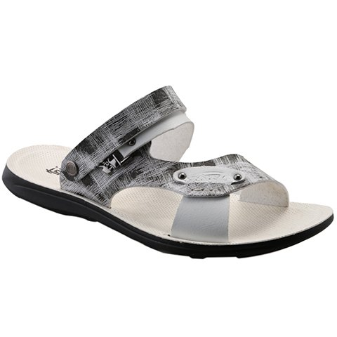 Simple Colour Block and Metal Design Men's Slippers - GRAY 40
