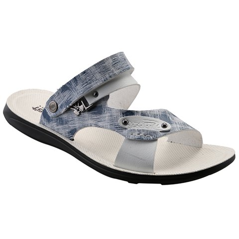 Simple Colour Block and Metal Design Men's Slippers - BLUE 40